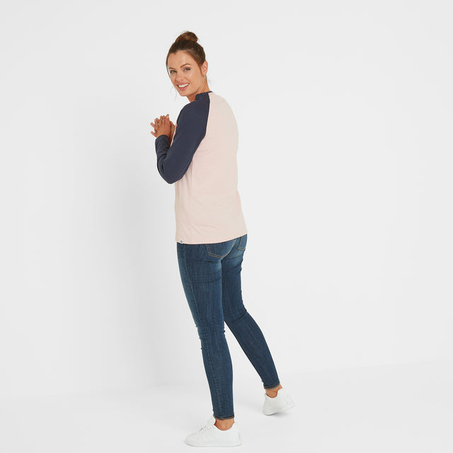 Thirn Womens Long Sleeve Raglan T-Shirt - Rose Marl/Dark Indigo image 3
