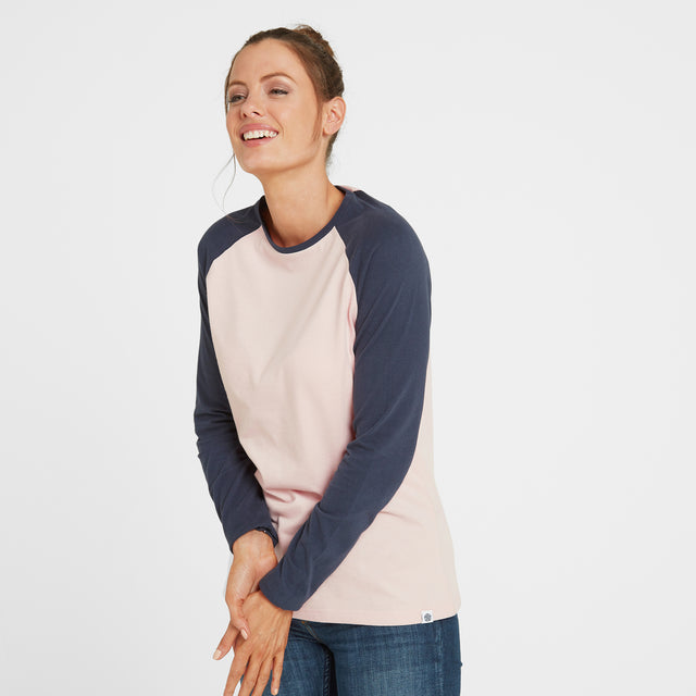 Thirn Womens Long Sleeve Raglan T-Shirt - Rose Marl/Dark Indigo image 1