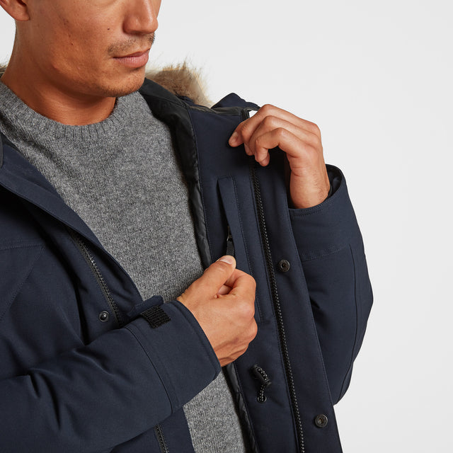 Thornton Mens Waterproof Downfill Parka - Navy image 3