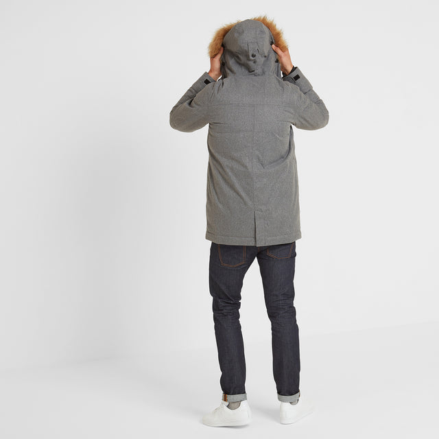 Thornton Mens Waterproof Downfill Parka - Grey Marl image 2