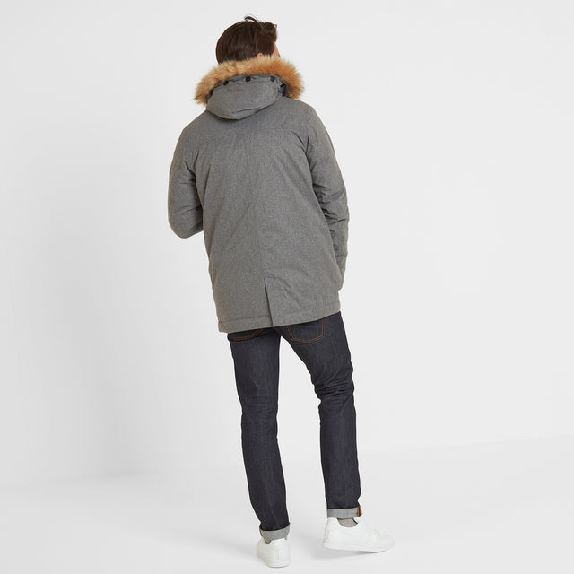 Thornton Mens Waterproof Downfill Parka - Grey Marl image 3