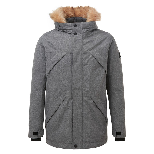 Thornton Mens Waterproof Downfill Parka - Grey Marl image 5