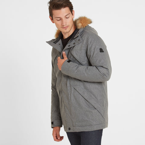 Thornton Mens Waterproof Downfill Parka - Grey Marl