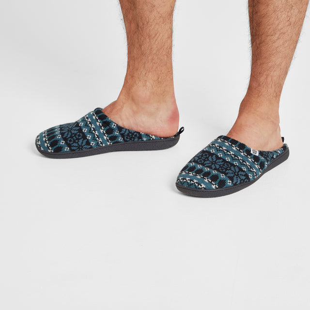 Todwick Mens Knit Slipper - Navy Fairisle image 5