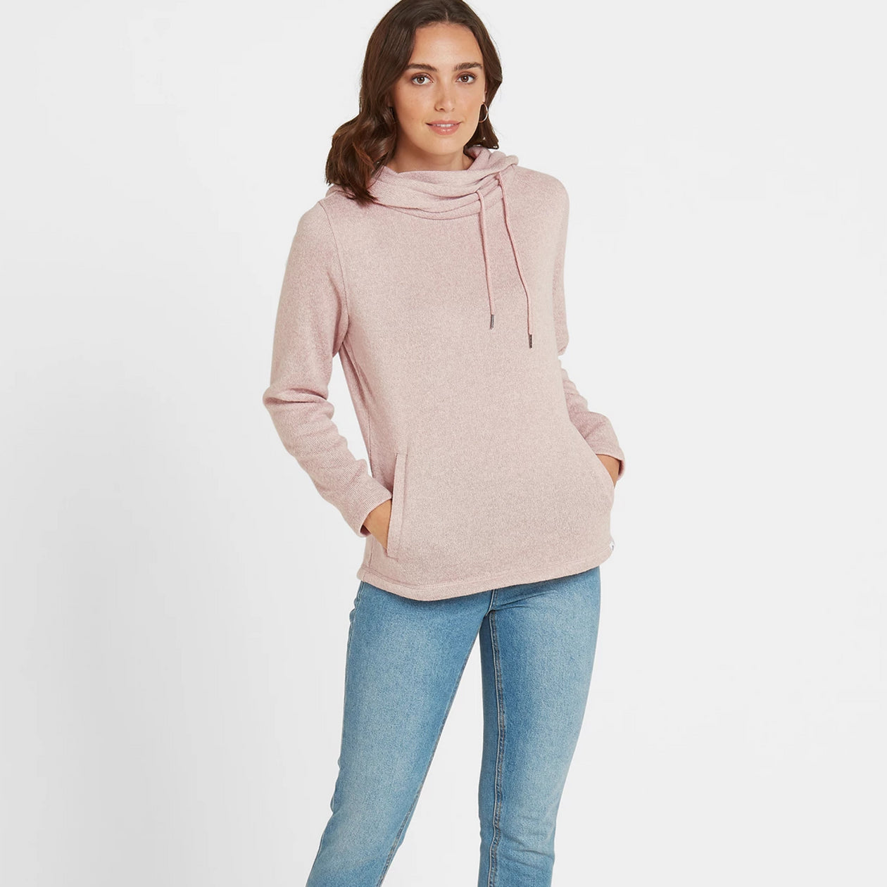 Tunstall Womens Knitlook Fleece Hood - Rose Pink Marl image 4