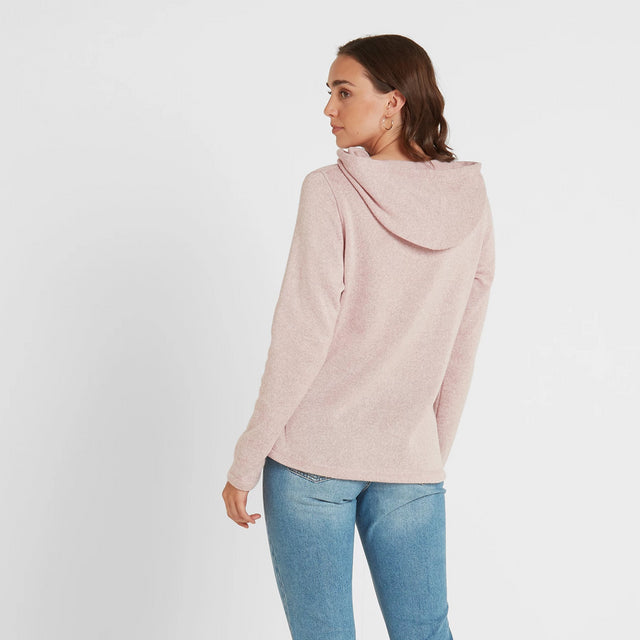 Tunstall Womens Knitlook Fleece Hood - Rose Pink Marl image 3