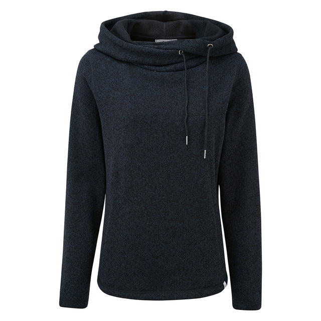 Tunstall Womens Knitlook Fleece Hood - Dark Indigo Marl image 3