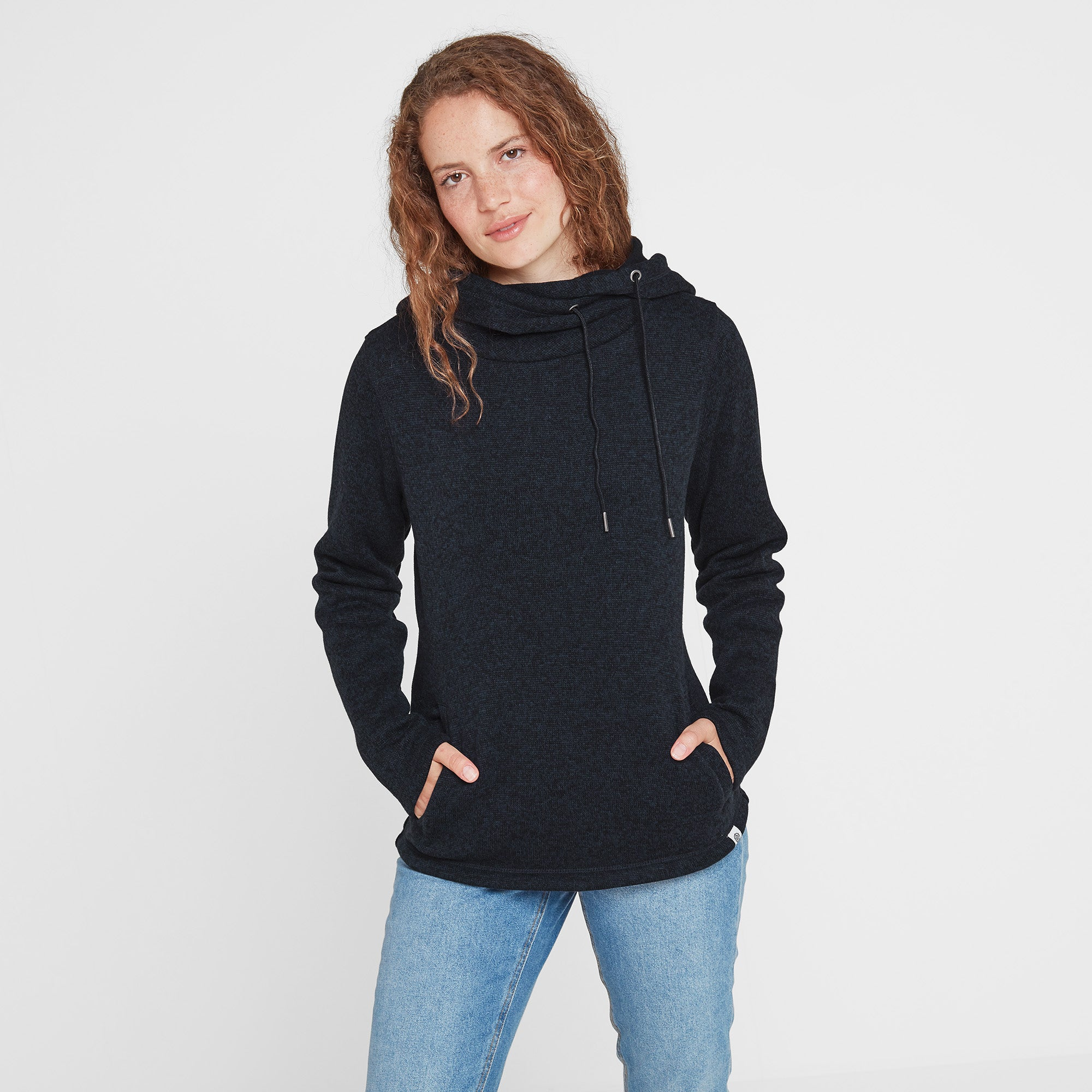 Tunstall Womens Knitlook Fleece Hood - Dark Indigo Marl