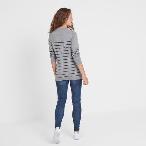 Una Womens Stripe Jumper - Light Grey Marl/Navy Marl