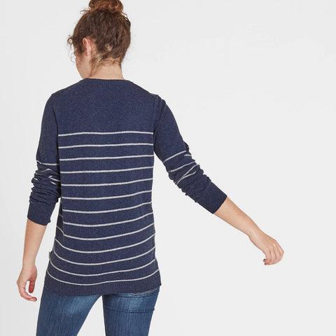 Una Womens Stripe Jumper - Navy Marl/Light Grey Marl
