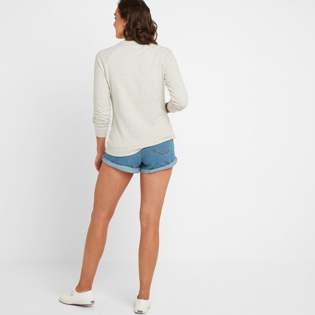 Varley Womens Crew Sweat - Oatmeal Marl image 2
