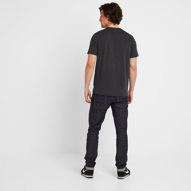 Wainwright Mens T-Shirt Linear Print - Dark Grey Marl image 2