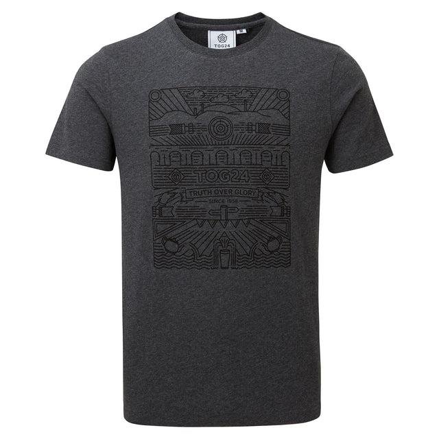Wainwright Mens T-Shirt Linear Print - Dark Grey Marl image 3