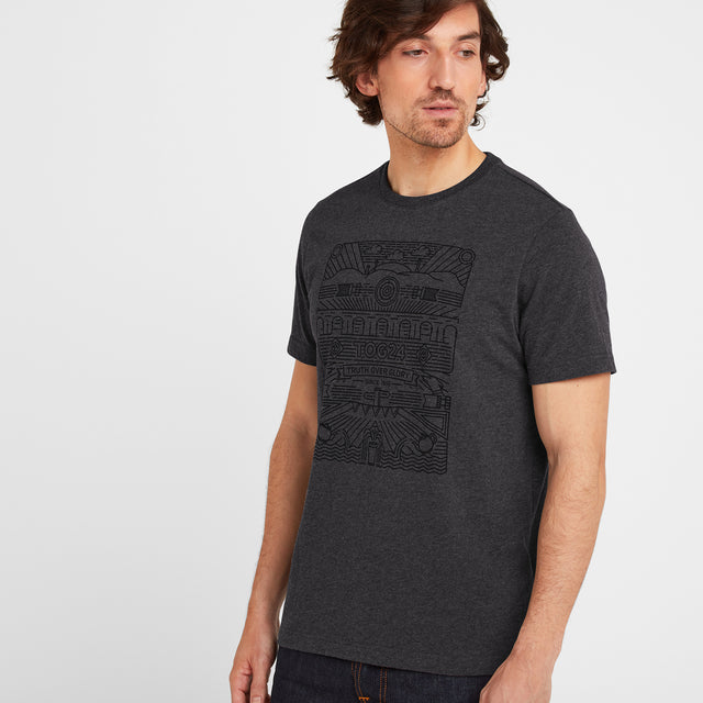 Wainwright Mens T-Shirt Linear Print - Dark Grey Marl image 1