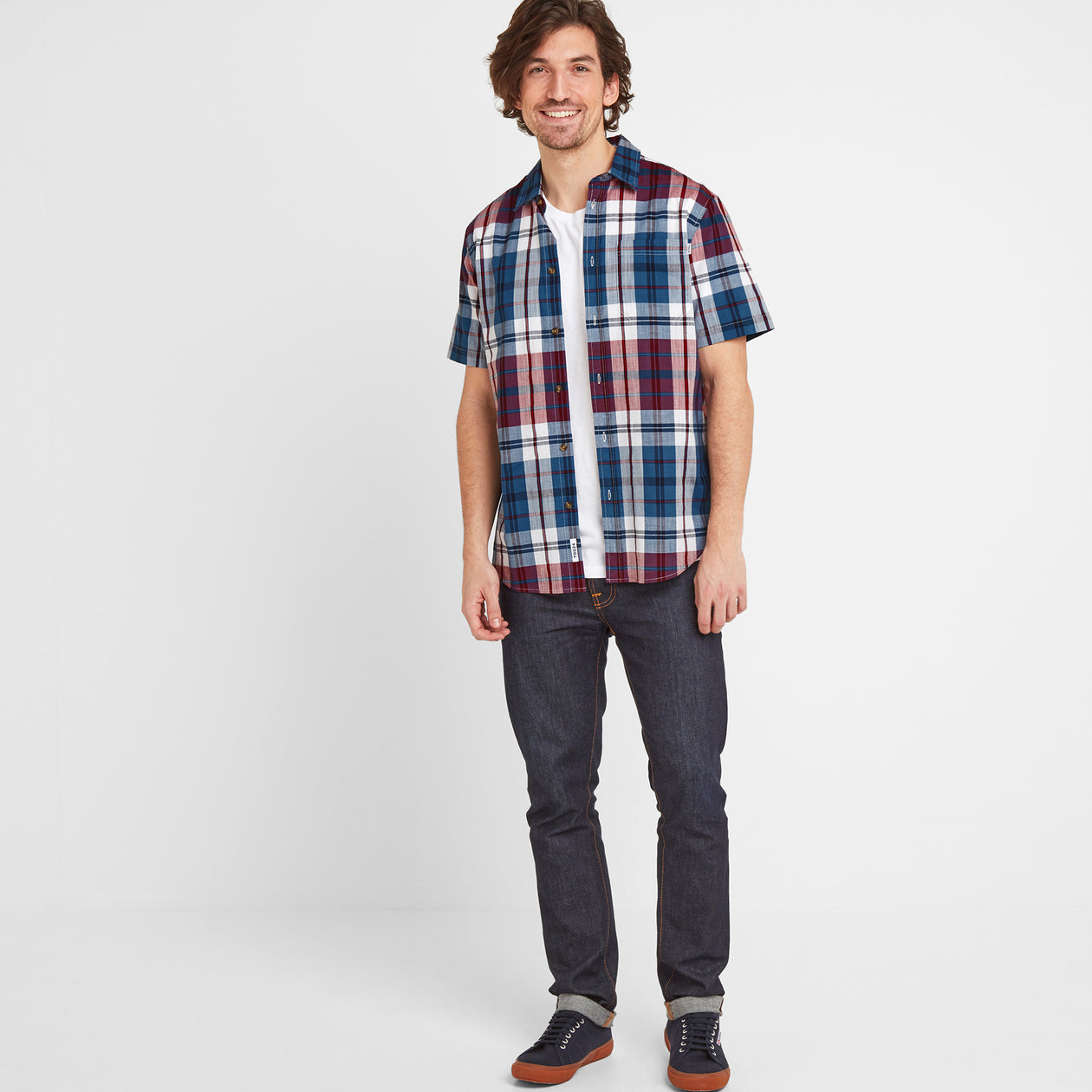 Wickley Mens Check Shirt - Rio Red image 4