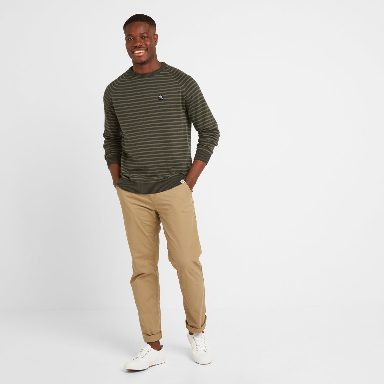 Willard Mens Stripe Jumper - Dark Khaki image 4