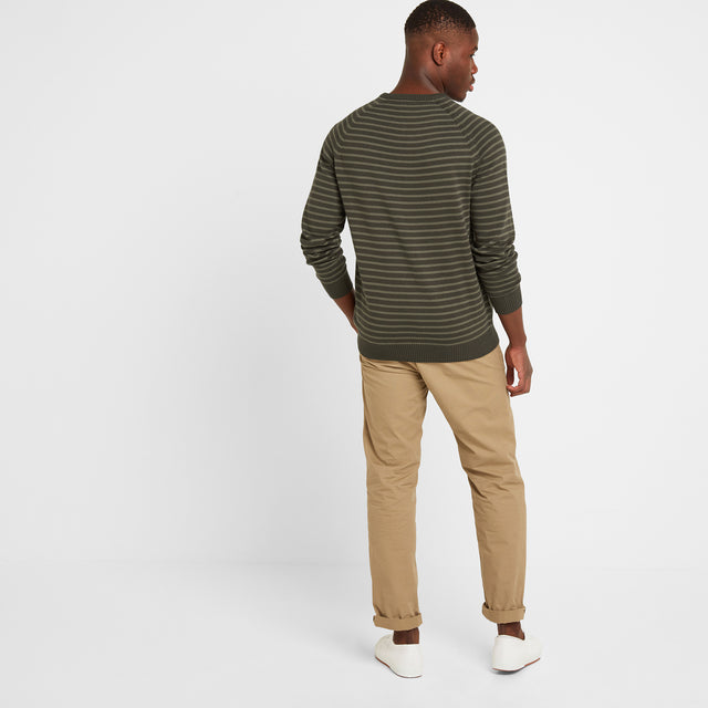 Willard Mens Stripe Jumper - Dark Khaki image 2