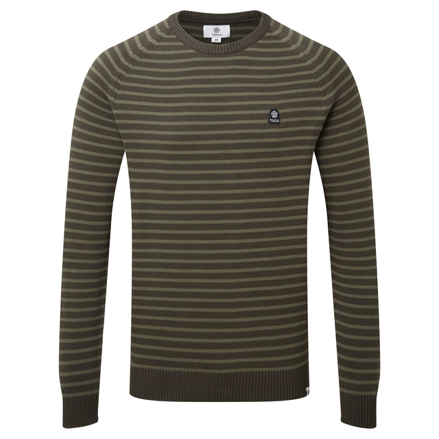 Willard Mens Stripe Jumper - Dark Khaki image 3