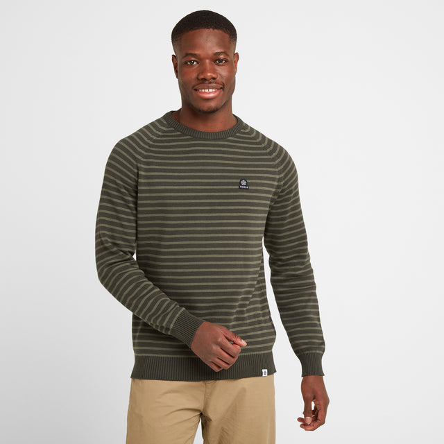 Willard Mens Stripe Jumper - Dark Khaki image 1