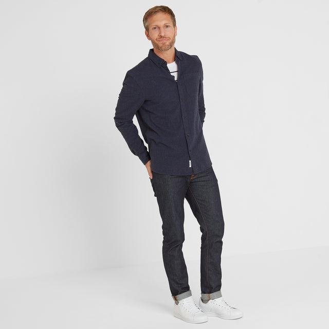 Winston Mens Long Sleeve Plain Marl Shirt - Dark Indigo image 2
