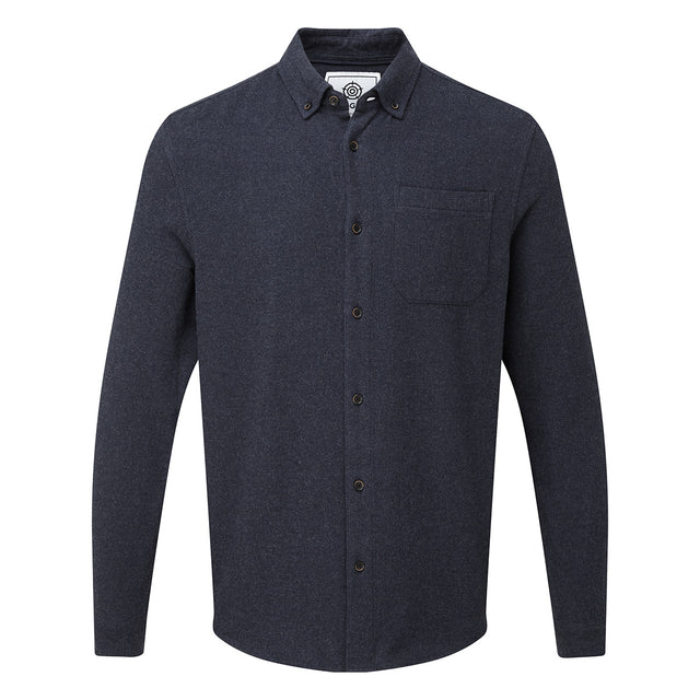 Winston Mens Long Sleeve Plain Marl Shirt - Dark Indigo image 5