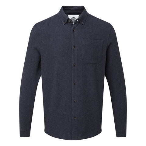 Winston Mens Long Sleeve Plain Marl Shirt - Dark Indigo