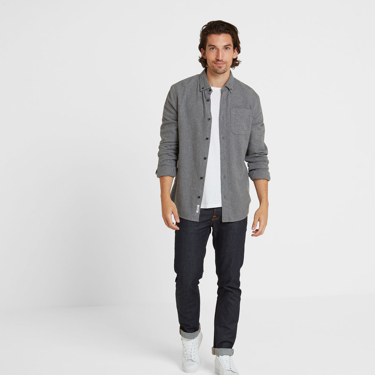Winston Mens Long Sleeve Plain Marl Shirt - Grey Marl image 4