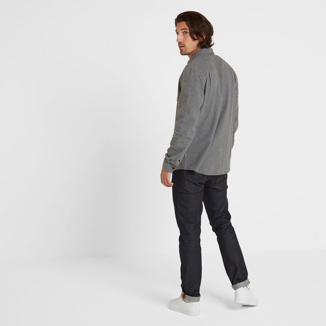 Winston Mens Long Sleeve Plain Marl Shirt - Grey Marl image 2