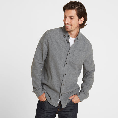 Winston Mens Long Sleeve Plain Marl Shirt - Grey Marl