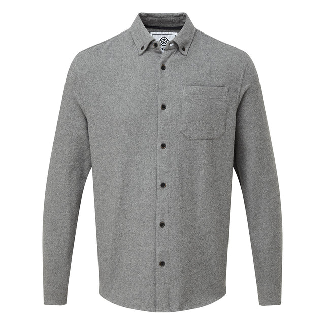 Winston Mens Long Sleeve Plain Marl Shirt - Grey Marl image 3