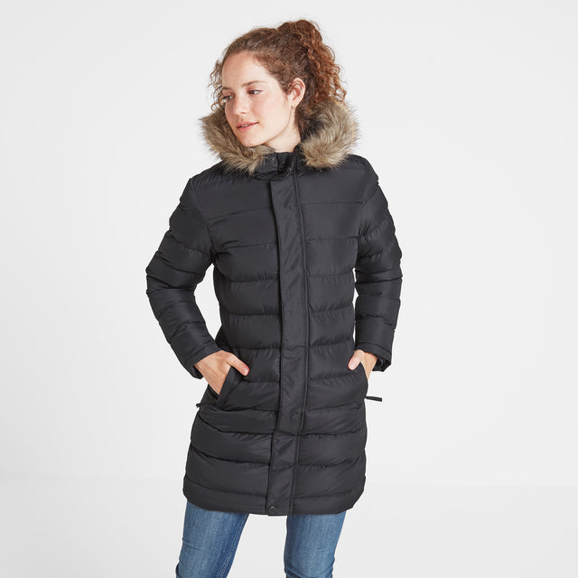 Yeadon Womens Long Insulated Jacket - Black image 2