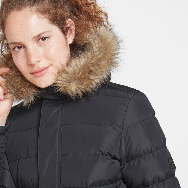 Yeadon Womens Long Insulated Jacket - Black image 5