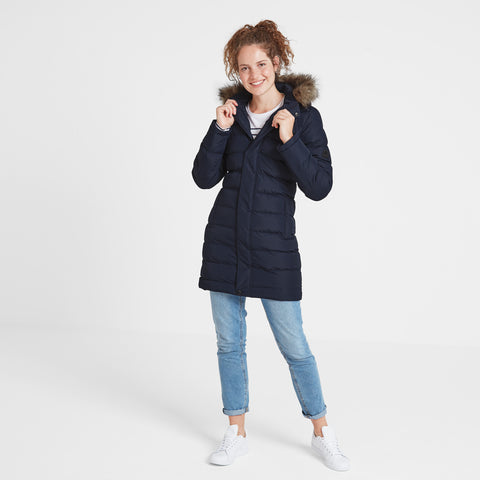 Yeadon Womens Long Insulated Jacket - Navy
