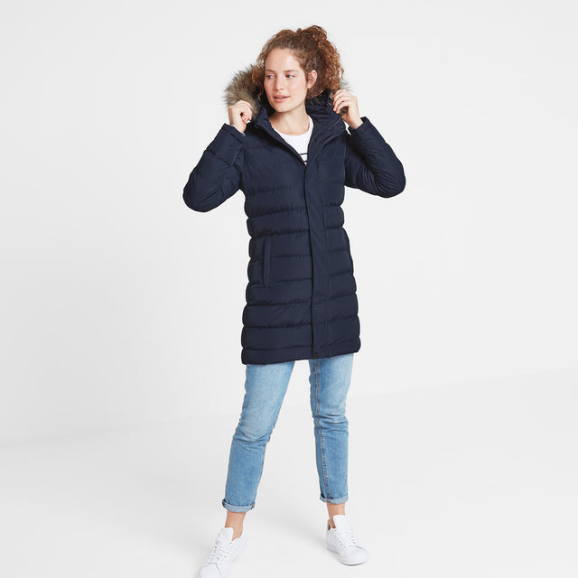 Yeadon Womens Long Insulated Jacket - Navy image 5