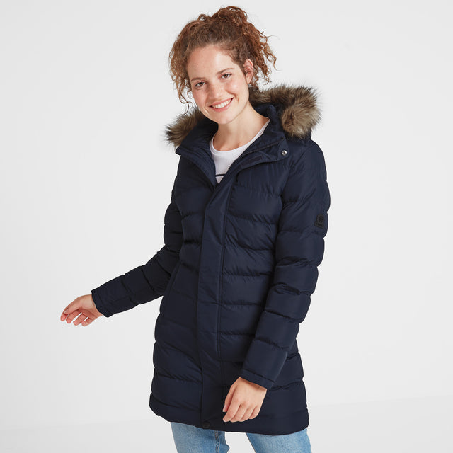 Yeadon Womens Long Insulated Jacket - Navy image 1