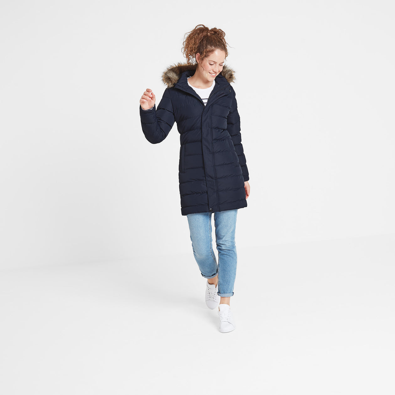 Yeadon Womens Long Insulated Jacket - Navy image 4