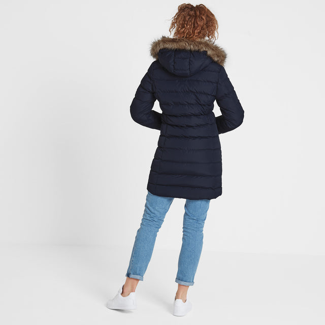 Yeadon Womens Long Insulated Jacket - Navy image 3