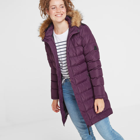 Yeadon Womens Long Insulated Jacket - Aubergine