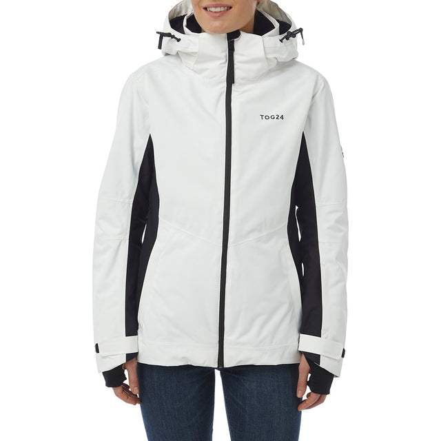 Abbey Womens Waterproof Insulated Ski Jacket - White/Black image 2