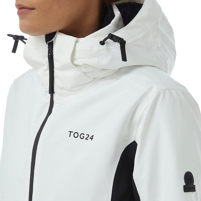Abbey Womens Waterproof Insulated Ski Jacket - White/Black image 5