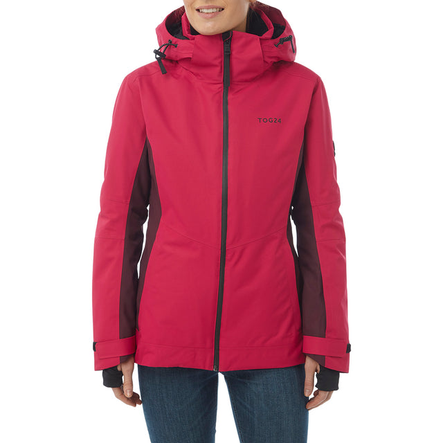 Abbey Womens Waterproof Insulated Ski Jacket - Cerise/Deep Port Marl image 2