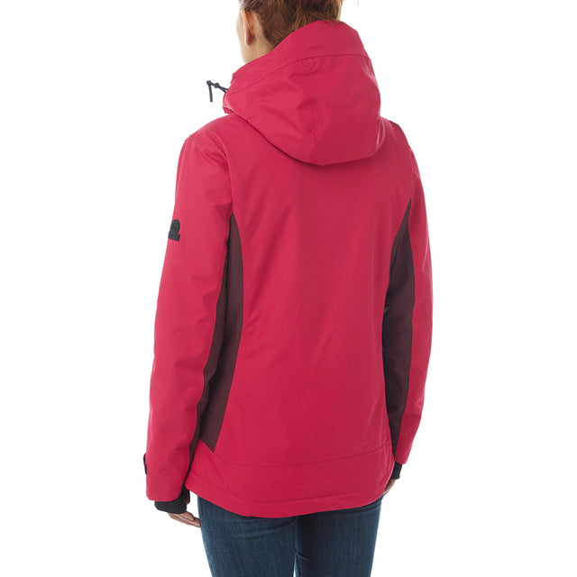 Abbey Womens Waterproof Insulated Ski Jacket - Cerise/Deep Port Marl image 3