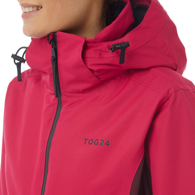 Abbey Womens Waterproof Insulated Ski Jacket - Cerise/Deep Port Marl image 5