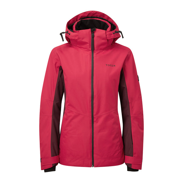 Abbey Womens Waterproof Insulated Ski Jacket - Cerise/Deep Port Marl image 1