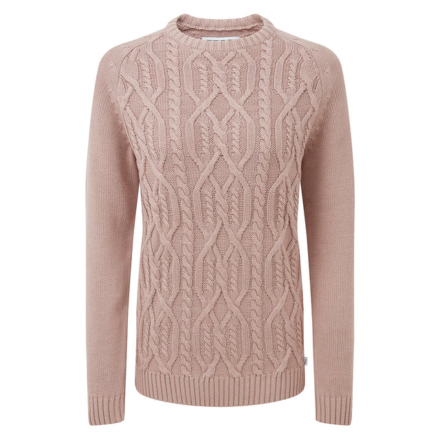 Adele Womens Cable Knit Jumper - Rose Pink image 3