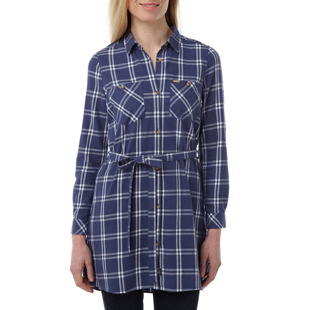 Annie Womens Shirt Dress - Damson Check image 2