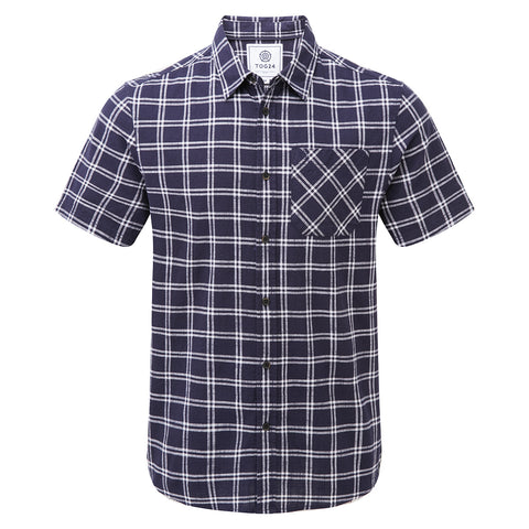 Ashley Mens Short Sleeve Shirt - Navy Check
