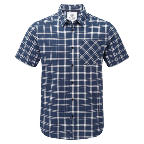 Ashley Mens Short Sleeve Shirt - Denim Check