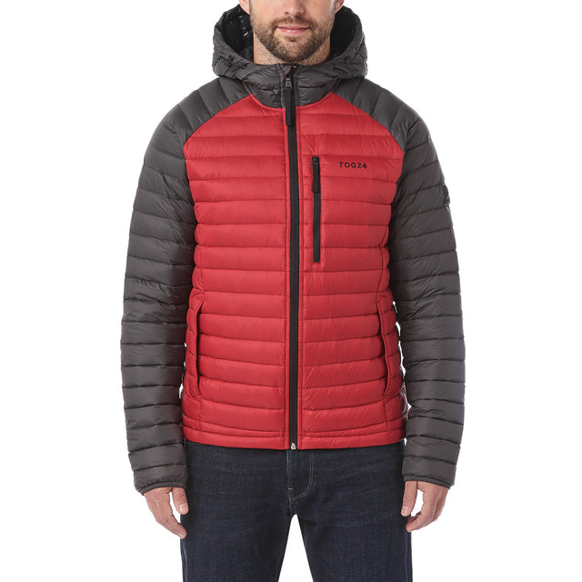Beck Mens Hooded Down Jacket - Red/Charcoal image 2