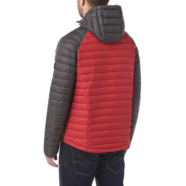 Beck Mens Hooded Down Jacket - Red/Charcoal image 3